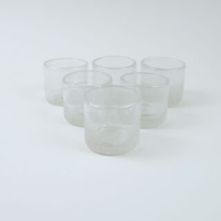 Set of 6 Coloured Glass Tea Lights - Frost