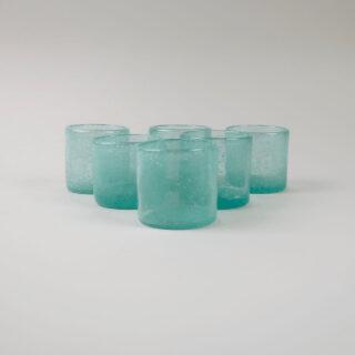 Set of 6 Coloured Glass Tea Lights - Lagoon