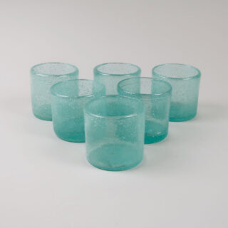 Set of 6 Coloured Glass Tea Lights - Lagoon
