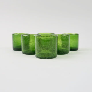 Set of 6 Coloured Glass Tea Lights - Olive