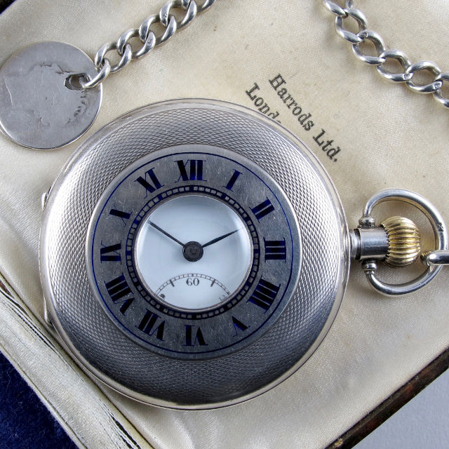 Bulla retailed by Harrods silver pocket watch, hallmarked 1923