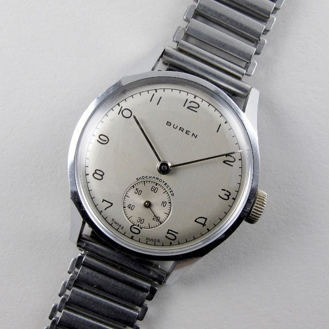 Buren 'Grand Prix' chrome and steel vintage wristwatch, circa 1945