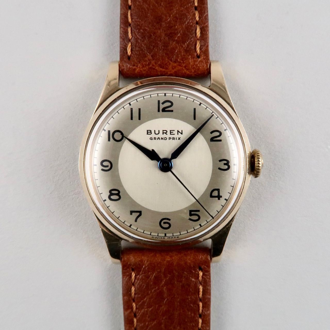 Buren Grand Prix gold vintage wristwatch, hallmarked 1956