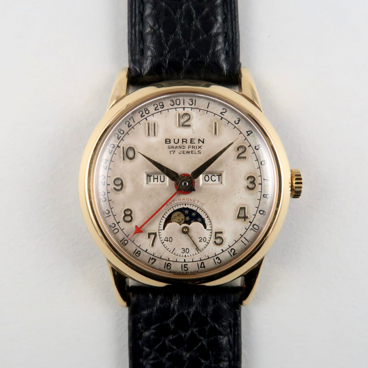 Buren Grand Prix gold plated vintage calendar wristwatch, circa 1950