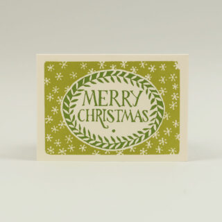 Pack of 10 Green Merry Christmas Cards