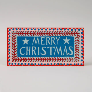 Pack of 6 Long Christmas Cards - Merry Christmas Pattern