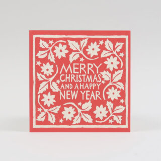 Pack of 10 Bright Red Leaves & Star Merry Christmas Card