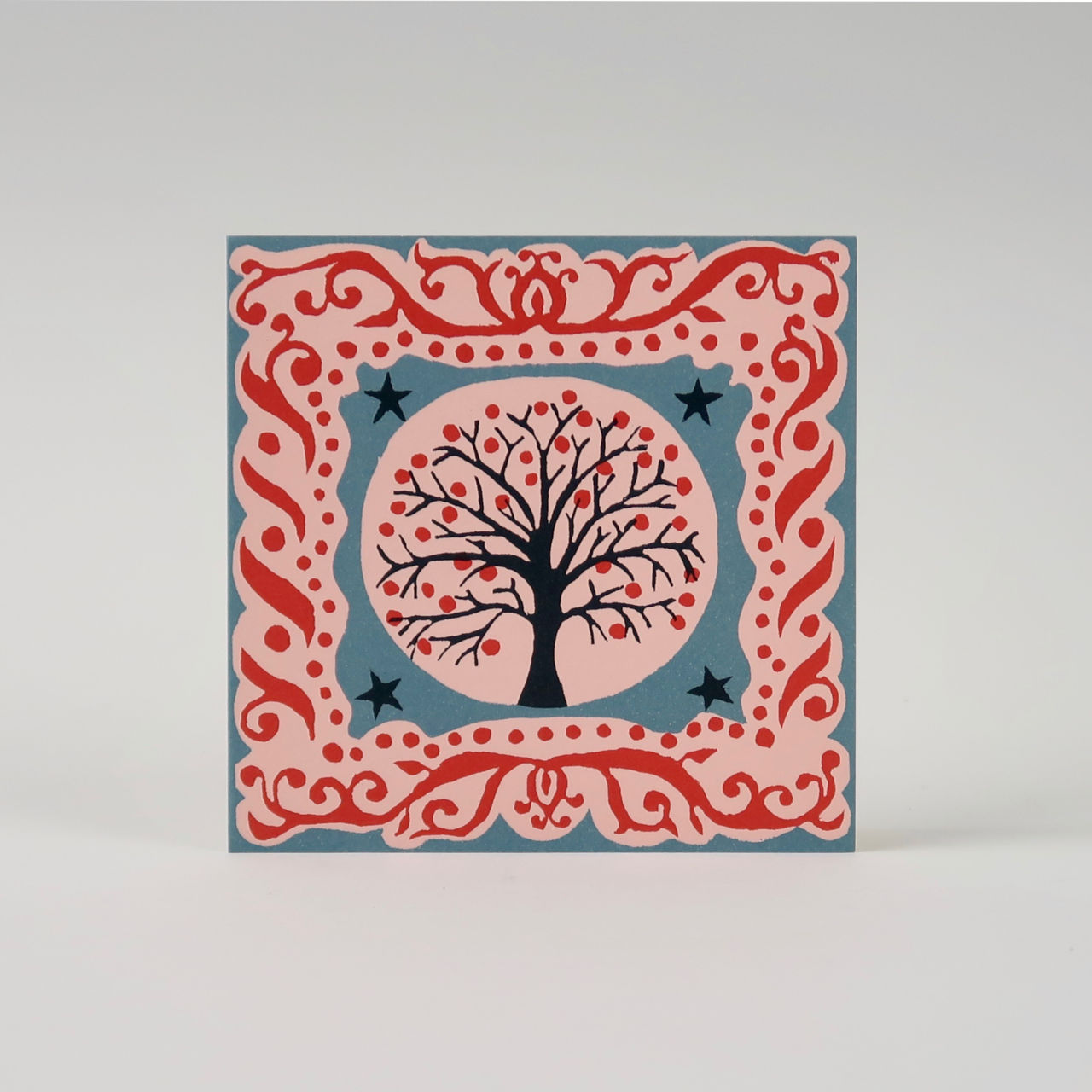 Pack of 10 Square Christmas Cards - Tree and Stars