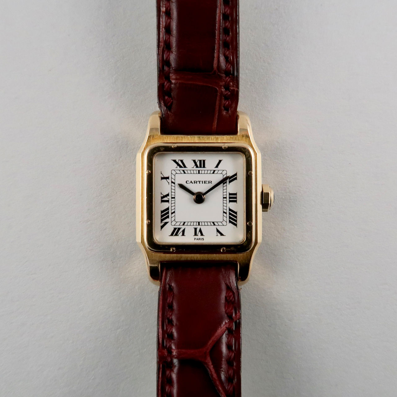 Cartier Paris Santos gold vintage wristwatch, circa 1975