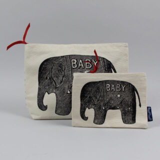 Baby Elephant Screen-printed Canvas Purse