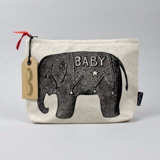 Canvas Zip Wash Bag - Baby Elephant