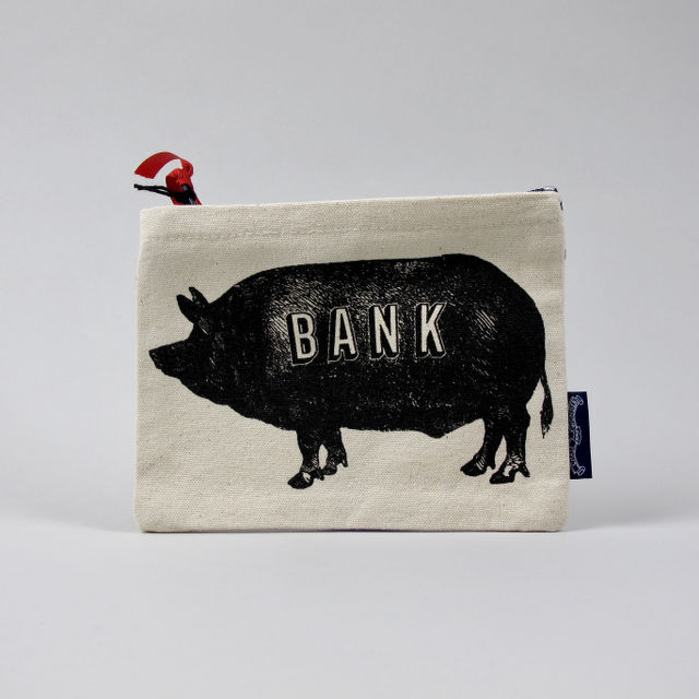 Piggy Bank Screen-printed Canvas Purse