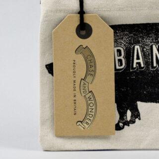 Piggy Bank Screen-printed Canvas Purse