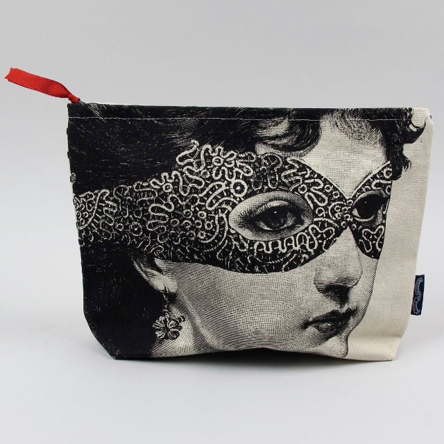 Canvas Zip Wash Bag - Lady in a Mask