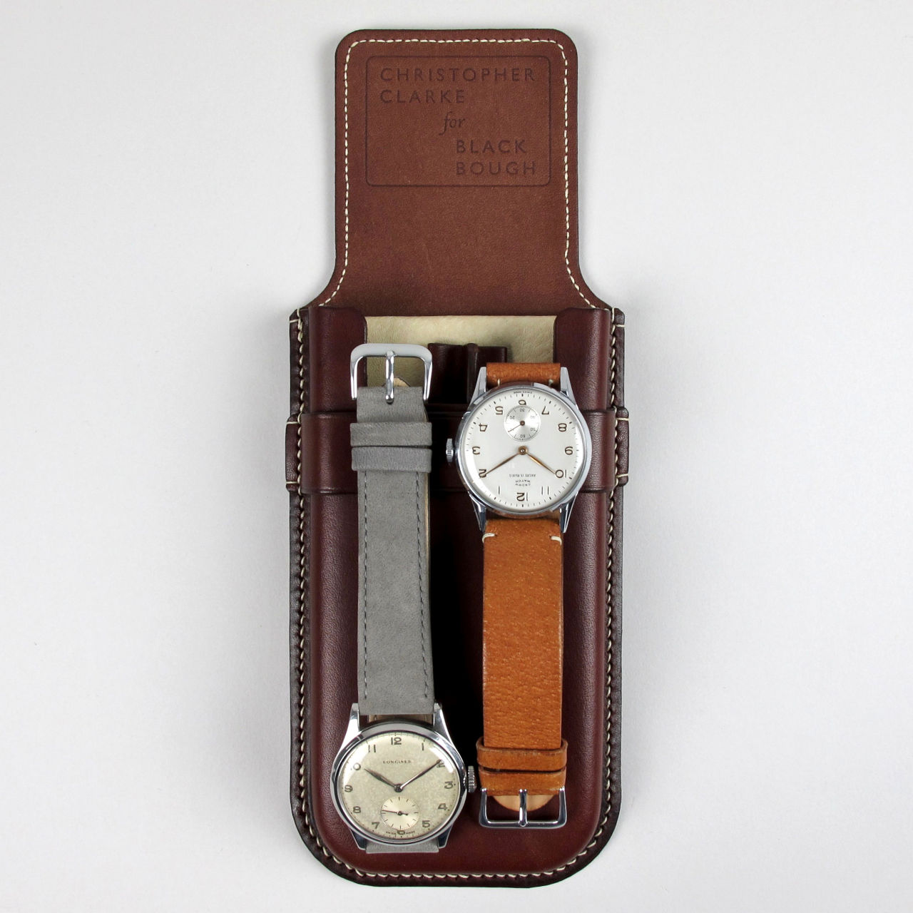 Bespoke handmade leather watch case for one or two wristwatches