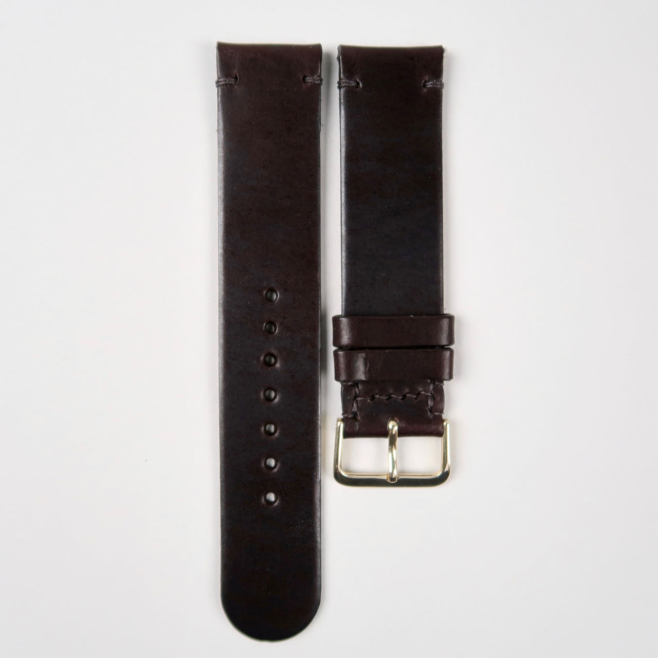 Christopher Clarke for Black Bough handmade chocolate brown stirrup hide watch strap