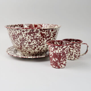 Enamel Splatterware - Large Salad Bowl - Burgundy