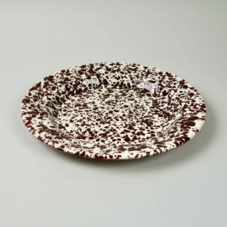Enamel Splatterware Dinner Plate - Burgundy