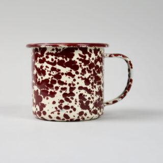 Enamel Splatterware Burgundy Mug