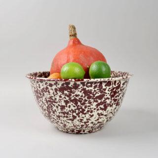 Enamel Splatterware - Large Salad Bowl - Burgundy