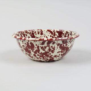Enamel Splatterware Cereal Bowl - Burgundy