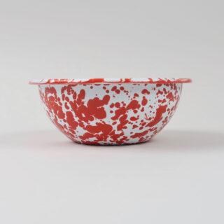 Enamel Splatterware Cereal Bowl - Red
