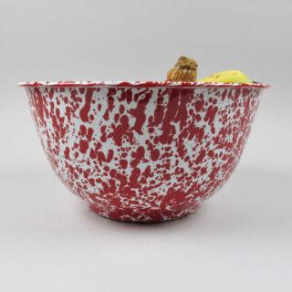 Enamel Splatterware - Large Salad Bowl - Red