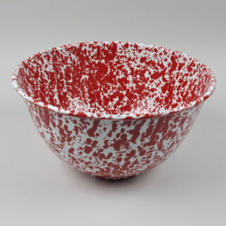 Enamel Splatterware - Large Salad Bowl - Red
