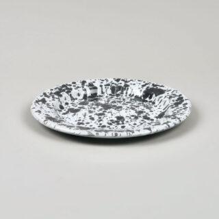 Enamel Splatterware - Salad Plate - Grey