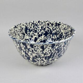 Enamel Splatterware - Large Salad Bowl - Dark Blue & Cream