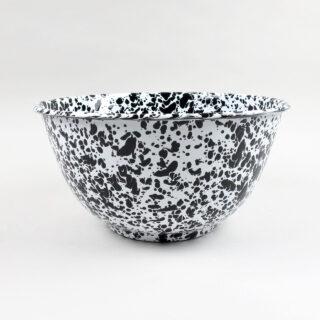 Enamel Splatterware - Large Salad Bowl - Black