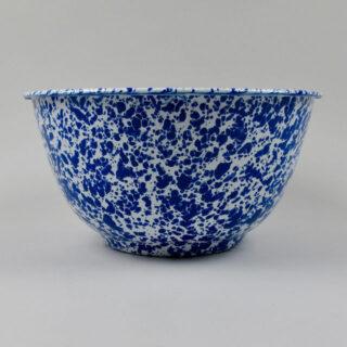 Enamel Splatterware - Large Salad Bowl - Blue