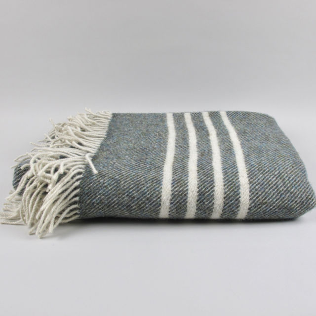 Banded wool blanket/throw, made in Ireland - Moss Green