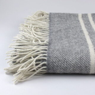 Banded wool blanket/throw, made in Ireland - Light Charcoal