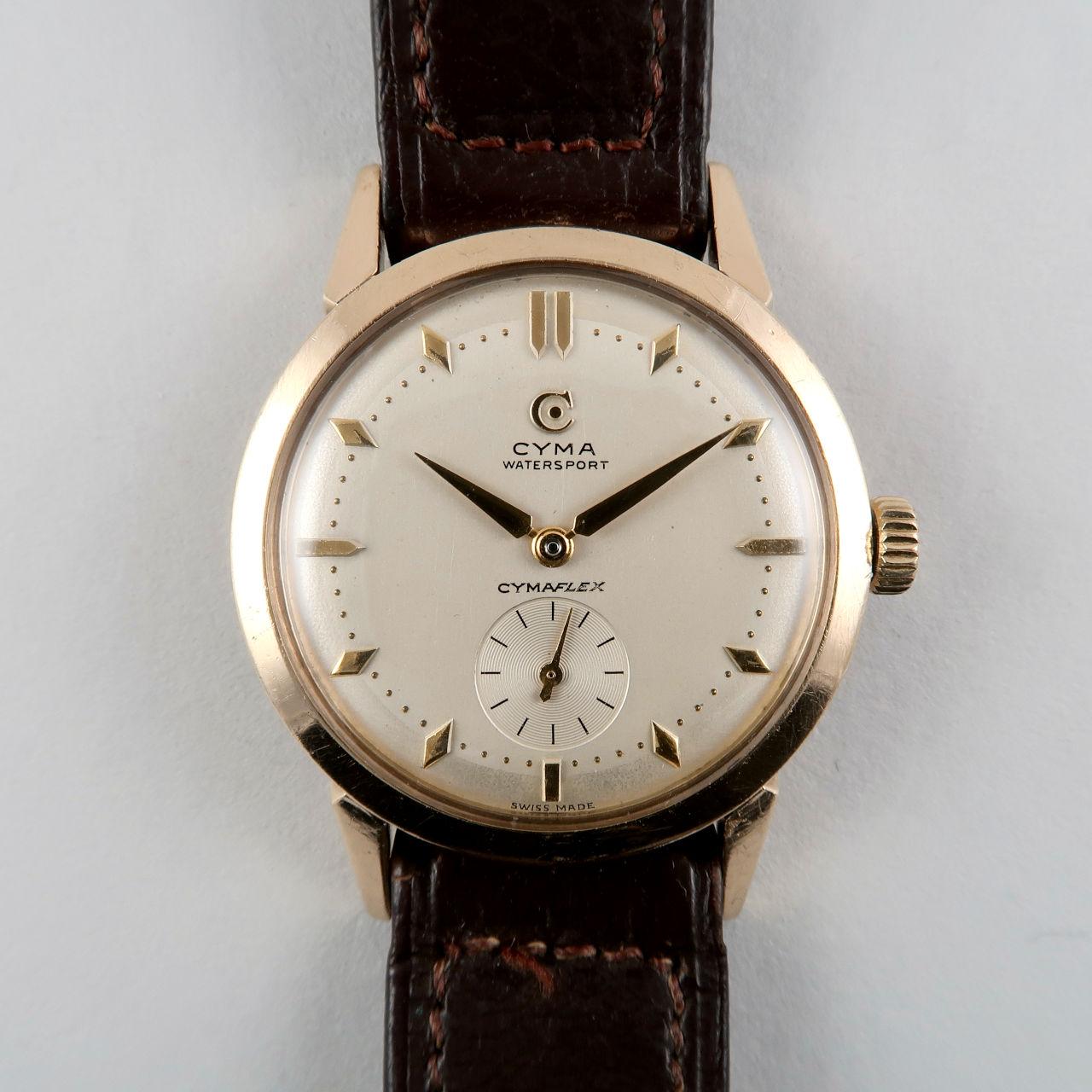 Cyma cal. R.458 hallmarked 1954 | 9ct gold hand wound wristwatch