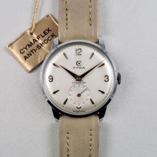 Cyma Cymaflex Ref. 1-5636 steel vintage wristwatch, circa 1955