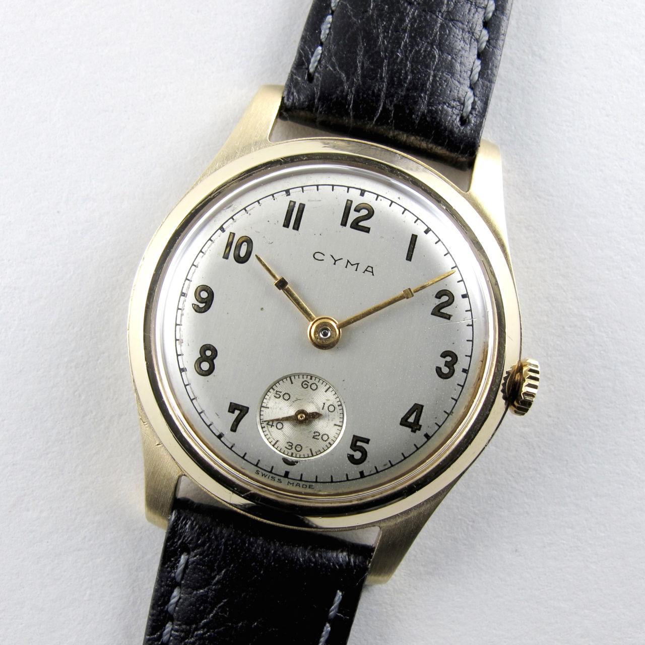 Cyma gold vintage wristwatch, hallmarked 1947