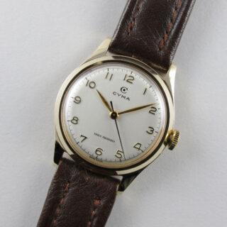 Gold Cyma vintage wristwatch, hallmarked 1953