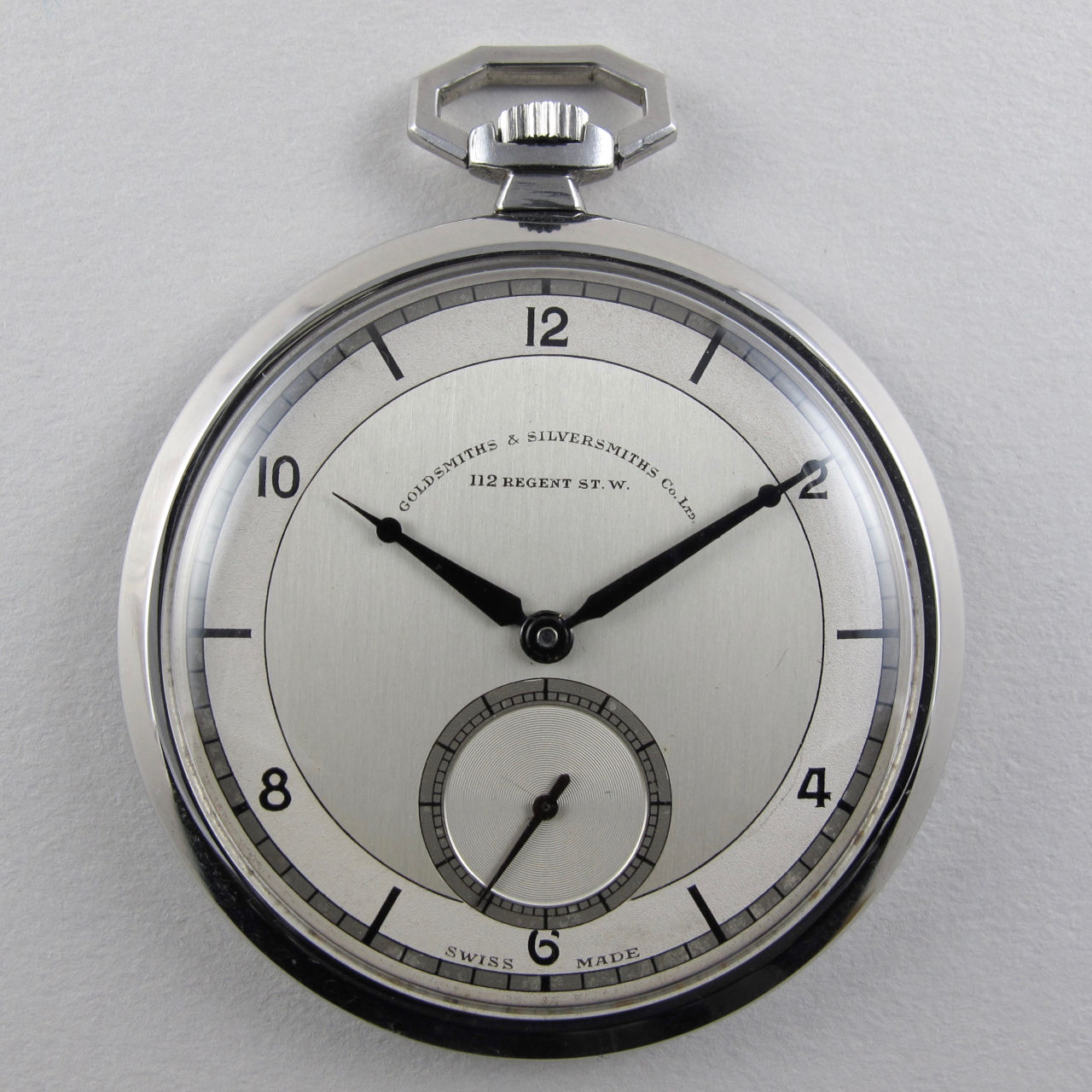 Cyma retailed by Goldsmiths & Silversmiths vintage pocket watch, circa 1940