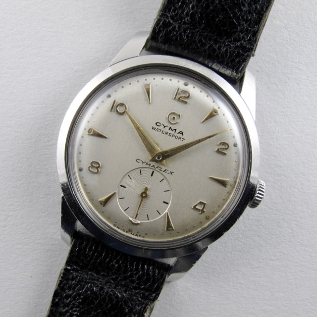 Cyma Watersport Cymaflex Ref. 2.5655 steel vintage wristwatch, circa 1955