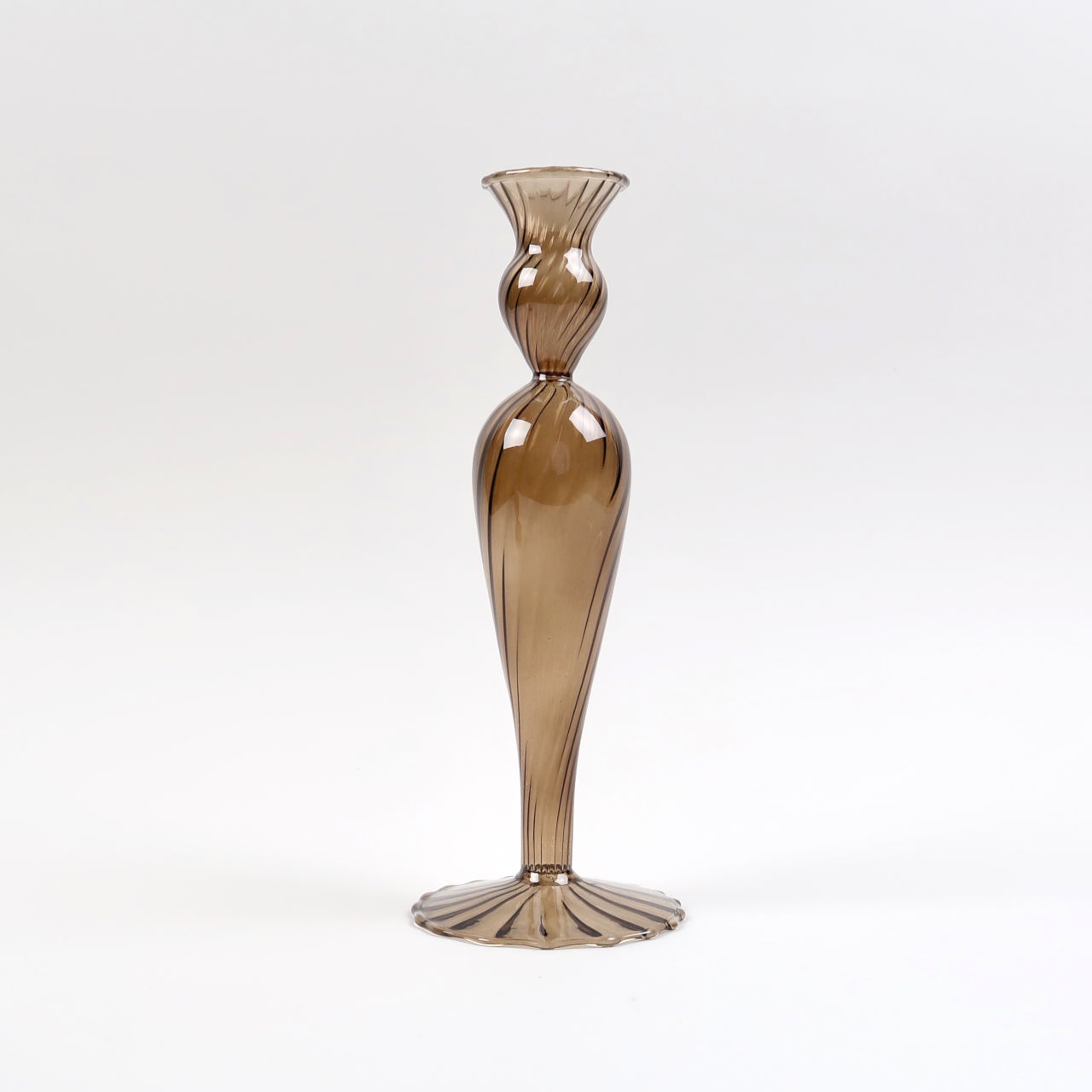 Venezian Glass Candle Holder - Design No. 2 - Amber