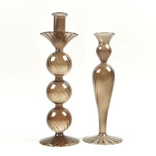 Venezian Glass Candle Holder - Design No. 1 - Amber