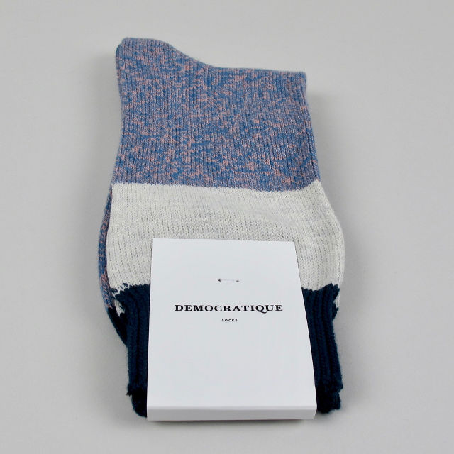 Men's Socks - Block Knit - Petrol/Skin/Off White/Dark Emerald