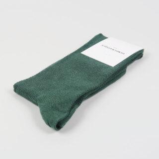 Men's Socks - Champagne Pique - Deep Green