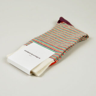 Men's Socks - Ultralight Stripes - Off White / Blood Orange / Green Day / Heavy Plum