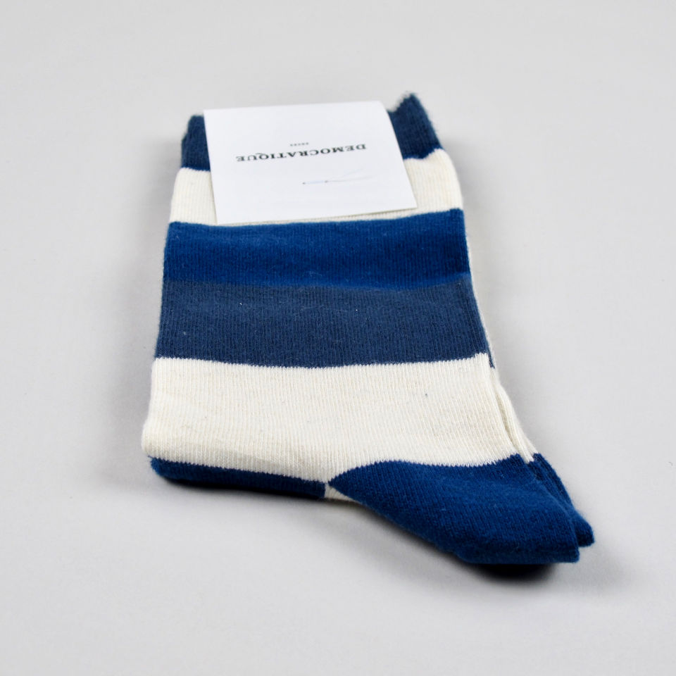 Men's Socks - Heavy Stripes - New Blue/Off White/Shaded Blue