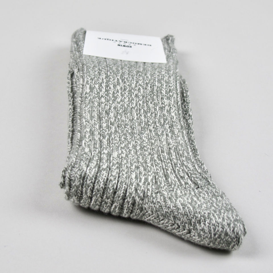 Men's Socks - Edwin - Relax Rib Knit - Army/Off White