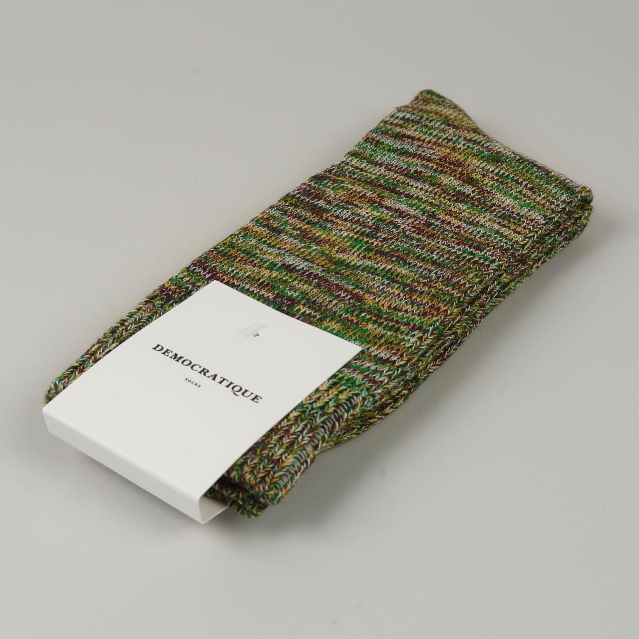 Men's Socks - Relax Chunky Knit - Hot Curry/Dark Plum/Off White/Grass Green