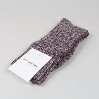 Men's Socks - Relax Schooner Knit - Dark Plum/Off White/Grass Green