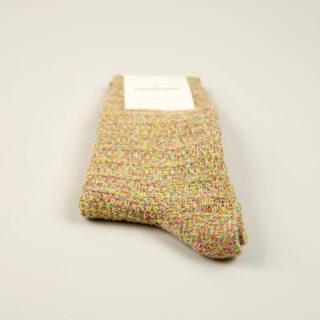 Men's Socks - Relax Slub Knit - Purplish Pink/Tennis Green/Dominant Yellow